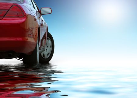 low perspective: Red sporty car isolated on clean background reflects in the water.