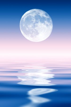 fool moon: Full Moon rising over ocean. Stock Photo