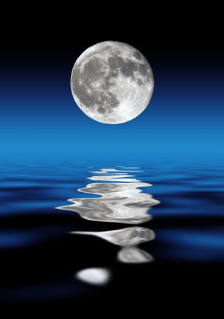 Full Moon Over Water At Night Stock Photo - 2483523
