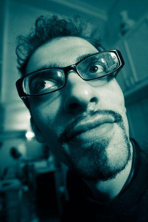 geeky: Weird looking genius.