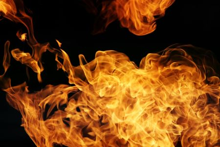 elemental: Fire flames on black background