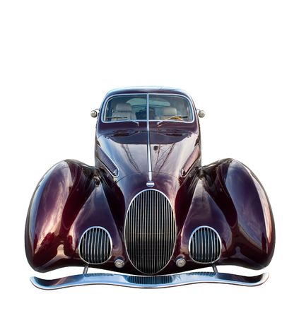 purple car: Classic retro car isolated on white. Clipping path included.