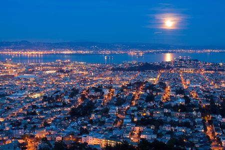 megapolis: Full Moon Rising Over San Francisco. Aerial View From Twin Peaks.