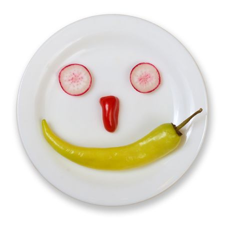 smiley: Fresh Food Smiley Isolated On White