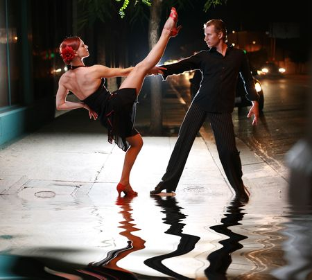 Hot latin dance on a street