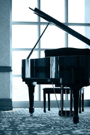 expensive: Grand piano silhouette Stock Photo
