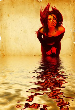 Hot Young Brunette Woman Waving Her Hair over the water. Digital Composite.
