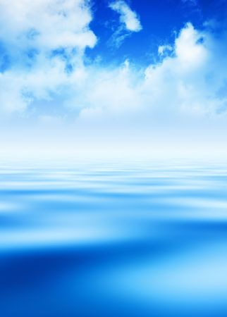 White clouds over blue sky and peaceful water background.
