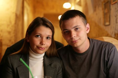 Portrait of a young loving couple together. photo