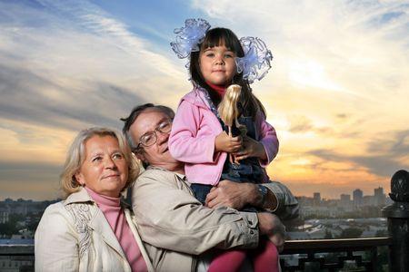 Portrait of big happy family outdoors Stock Photo - 2642819
