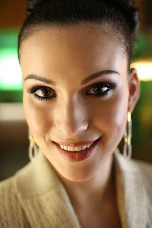 shallow dof: Beautiful woman face, close-up, shallow DOF. Stock Photo