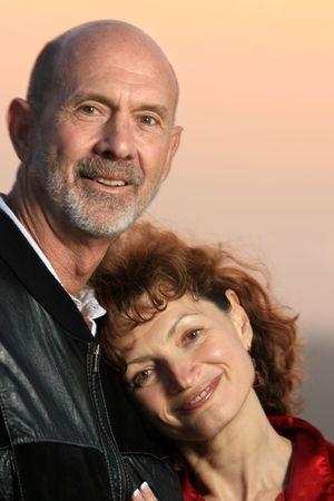Loving senior couple outdoors. Close-up, shallow DOF. Stock Photo - 2688386