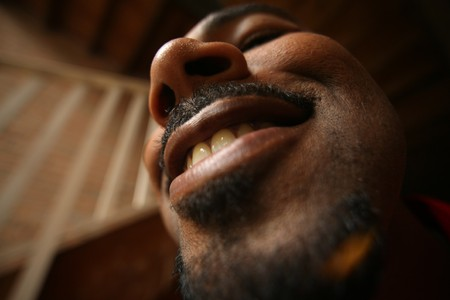 nostrils: Fun wide angle portrait of a man. High grain effect. Stock Photo