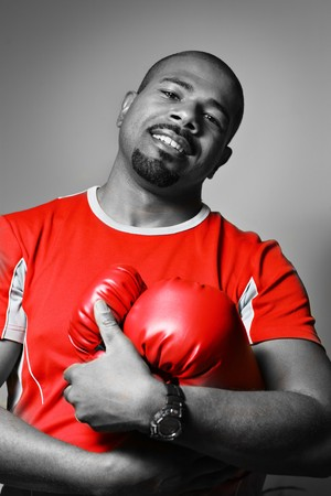 Athlete with boxing gloves Stock Photo - 4215275