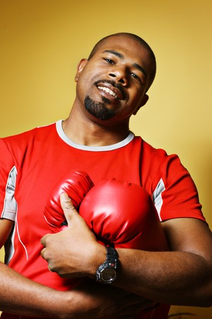 Athlete with boxing gloves photo