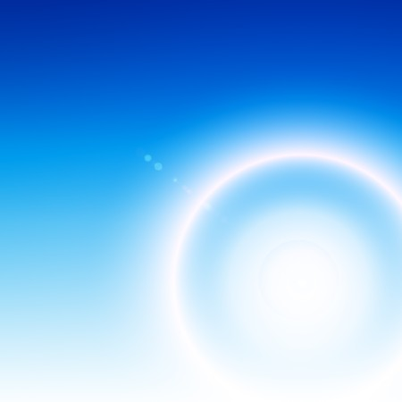 Abstract white flare over blue background photo