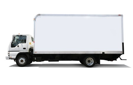 delivery service: White delivery truck isolated on white background