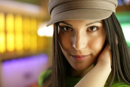 shallow dof: Beautiful young woman looking at camera, close-up. Shallow DOF.