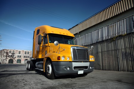 Big yellow trailer in downtown Los Angeles photo