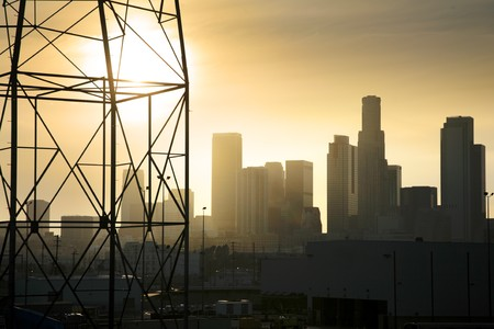 myst: Downtown Los Angeles industrial view with power line in foreground