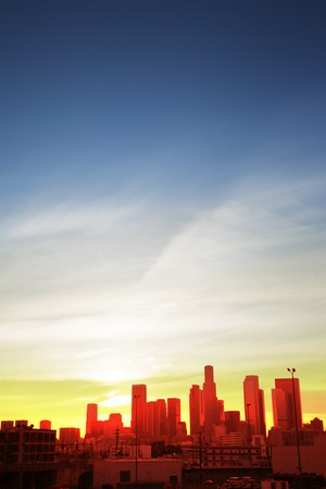 los: Downtown Los Angeles cityscape at sunset Stock Photo