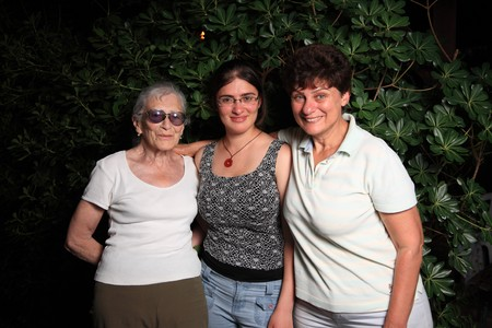 three generations of women: Grandmother, mother and daughter together.