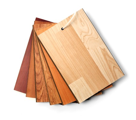 laminate flooring: Sample pack of wooden flooring laminate isolated on white
