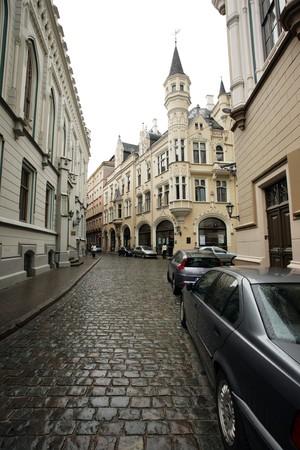 Calles de una ciudad europea de edad. Riga, Letonia, Europa. Foto de archivo - 4238170