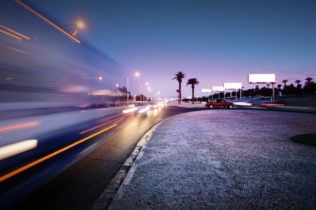 Speeding bus, blurred motion. Las Vegas Blvd., Las Vegas, USA. Stock Photo - 4238166