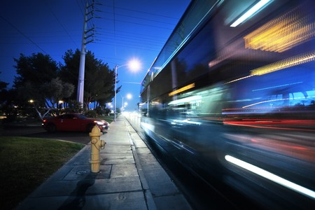 Speeding bus, blurred motion. Las Vegas Blvd., Las Vegas, USA.