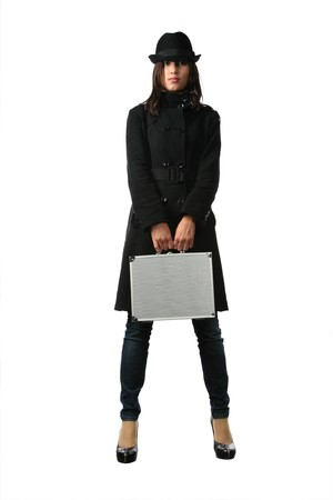 Beautiful woman in black with briefcase. Isolated on white background. Stock Photo - 4319878