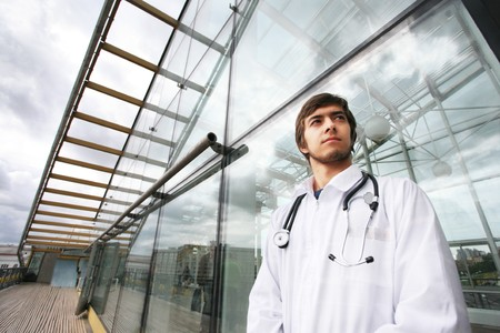 medical light: Portrait of a doctor outdoors