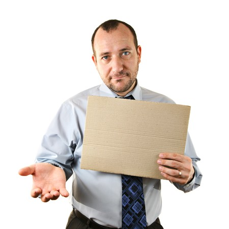 pitiful: Businessman begging for help with cardboard sign Stock Photo