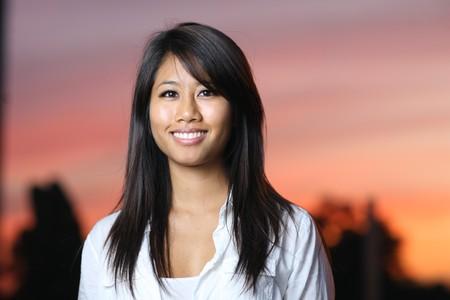 phillipine: A portrait of beautiful asian girl at sunset Stock Photo