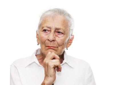 Portrait of a senior woman thinking photo