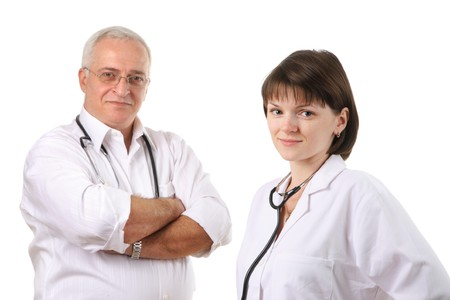 Smiling doctors team isolated over white background photo