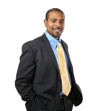 Vertrouwen lachend African American zakenman geïsoleerde over witte achtergrond Stockfoto