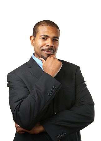 Handsome African American businessman thinking, looking at camera. Isolated over white background. photo