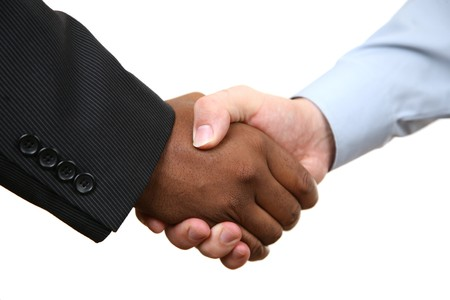 black handshake: Diverse business male shaking hands. Isolated on white. Stock Photo