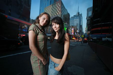 city square: Two beautiful girls in New York City