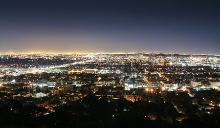 angeles: Los Angeles skyline at night, California, USA