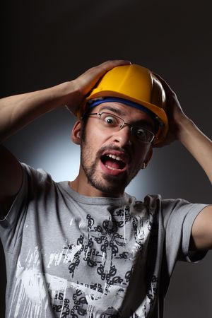 constraction: Portrait of a constraction worker screaming.