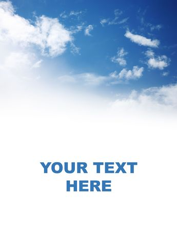 Beautiful blue sky over white background with space for your text.