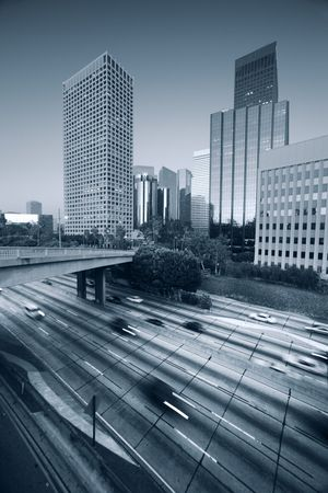 Freeway traffic in downtown Los Angeles photo
