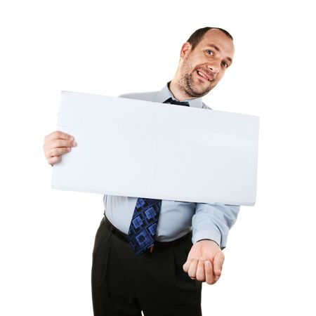 pitiful: Businessman begging for help with white cardboard sign, isolated over white background Stock Photo
