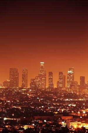Downtown Los Angeles horizon au soir, Californie, États-Unis Banque d'images