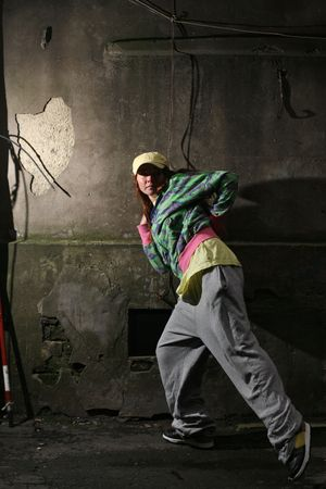 Urban dancer next to old wall Stock Photo - 5947216