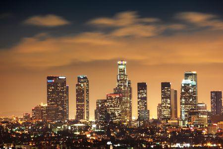 Downtown Los Angeles skyline op nacht, California, Verenigde Staten