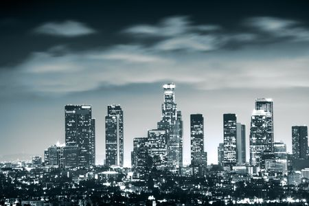 Downtown Los Angeles skyline at night, California, USA photo