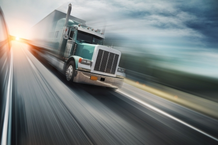vintage truck: Truck on freeway Stock Photo
